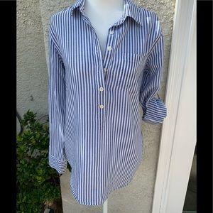 J Crew Stripe Pocket Popover Shirt Women's Size XS